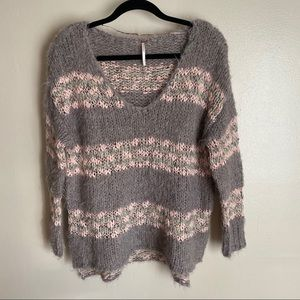 Free People v neck loose knit striped sweater, S
